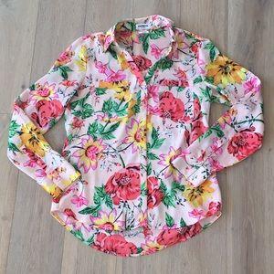 Express portofino slim fit button down floral top